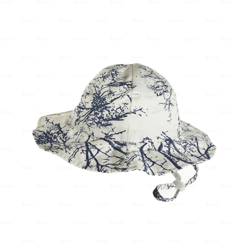 Load image into Gallery viewer, Beach-Hat-Tree-Print Beach Hat Manière Navy