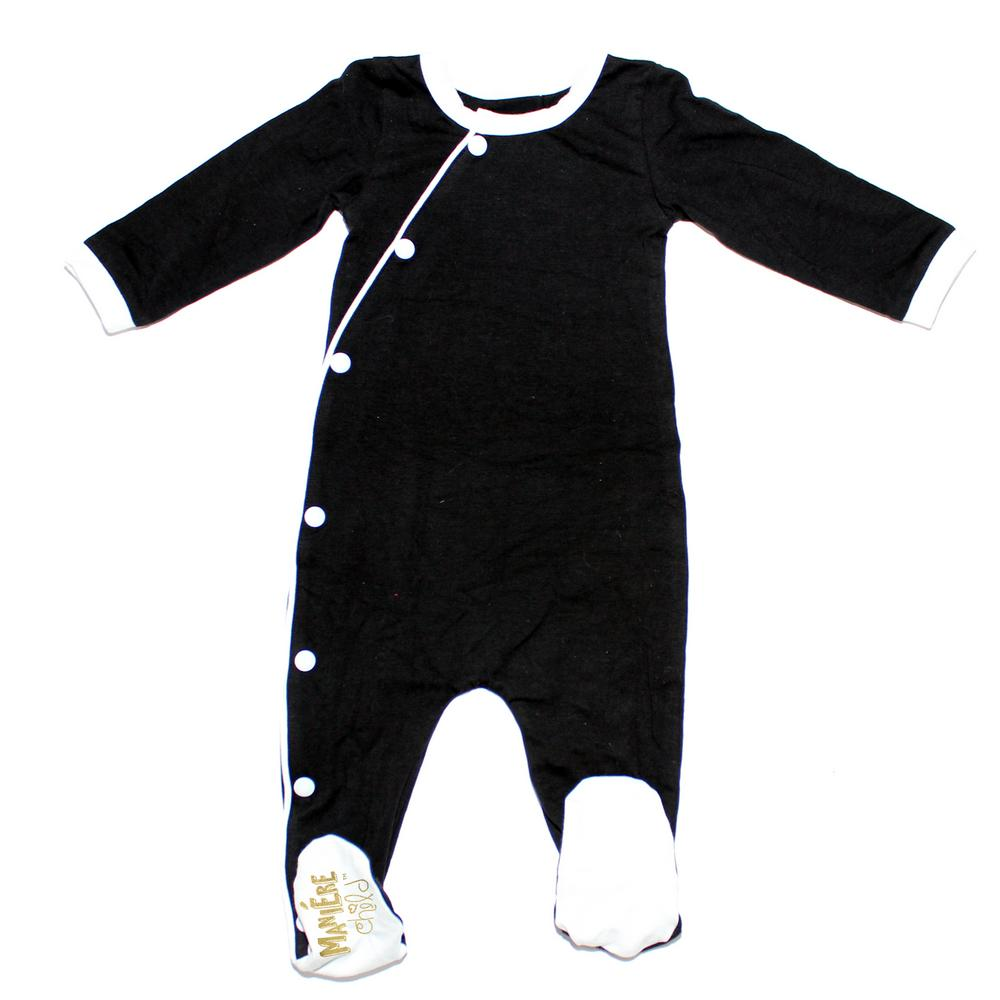 Baby Cotton Kimono Baby Footies Maniere Accessories Black/White 3M