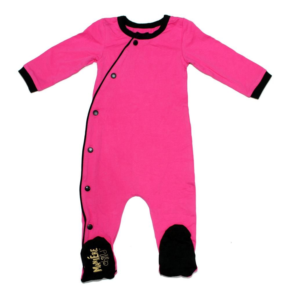 Baby Cotton Kimono Baby Footies Maniere Accessories Pink/Black 3M