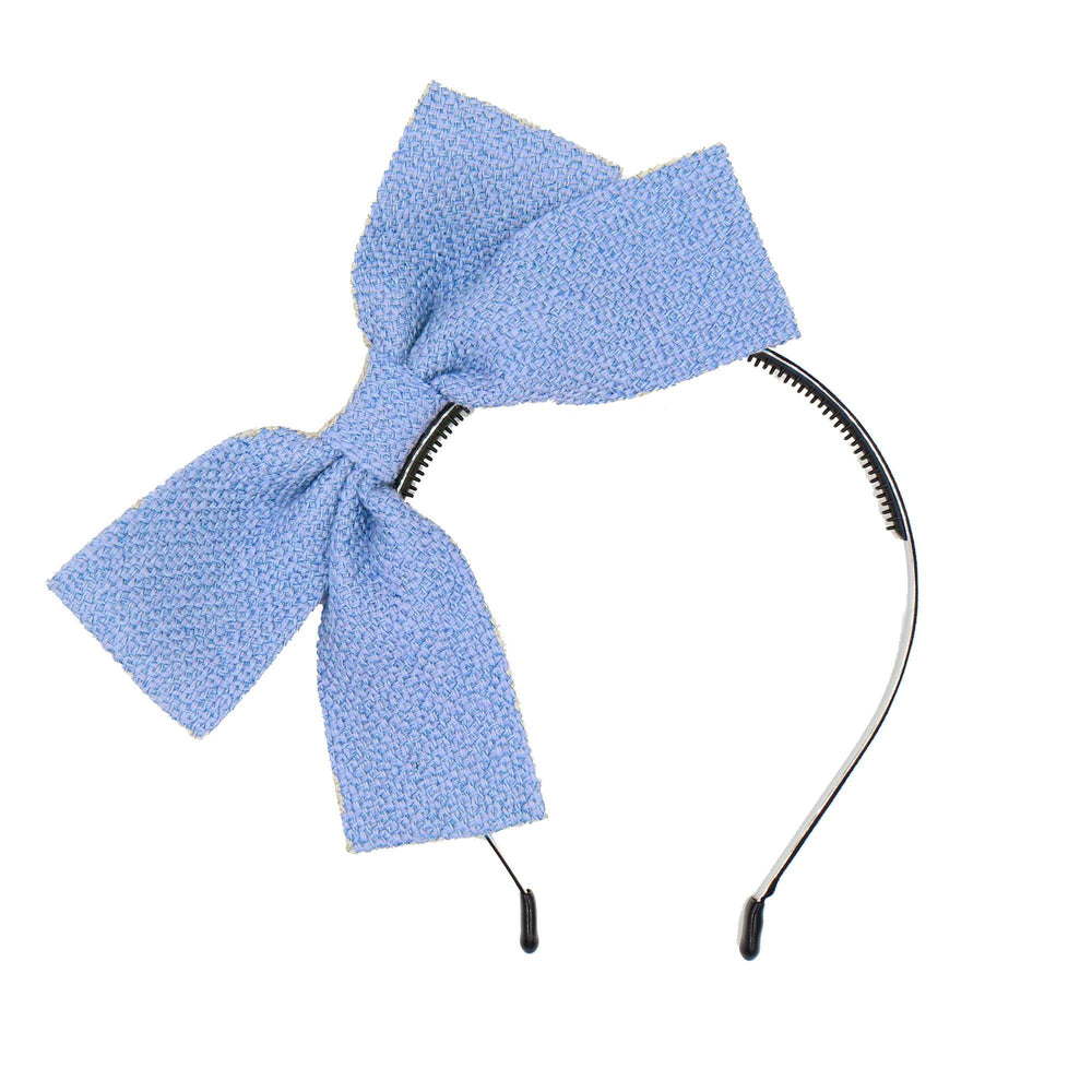 Burlap Bow Headband Headband Maniere Accessories Soft Blue