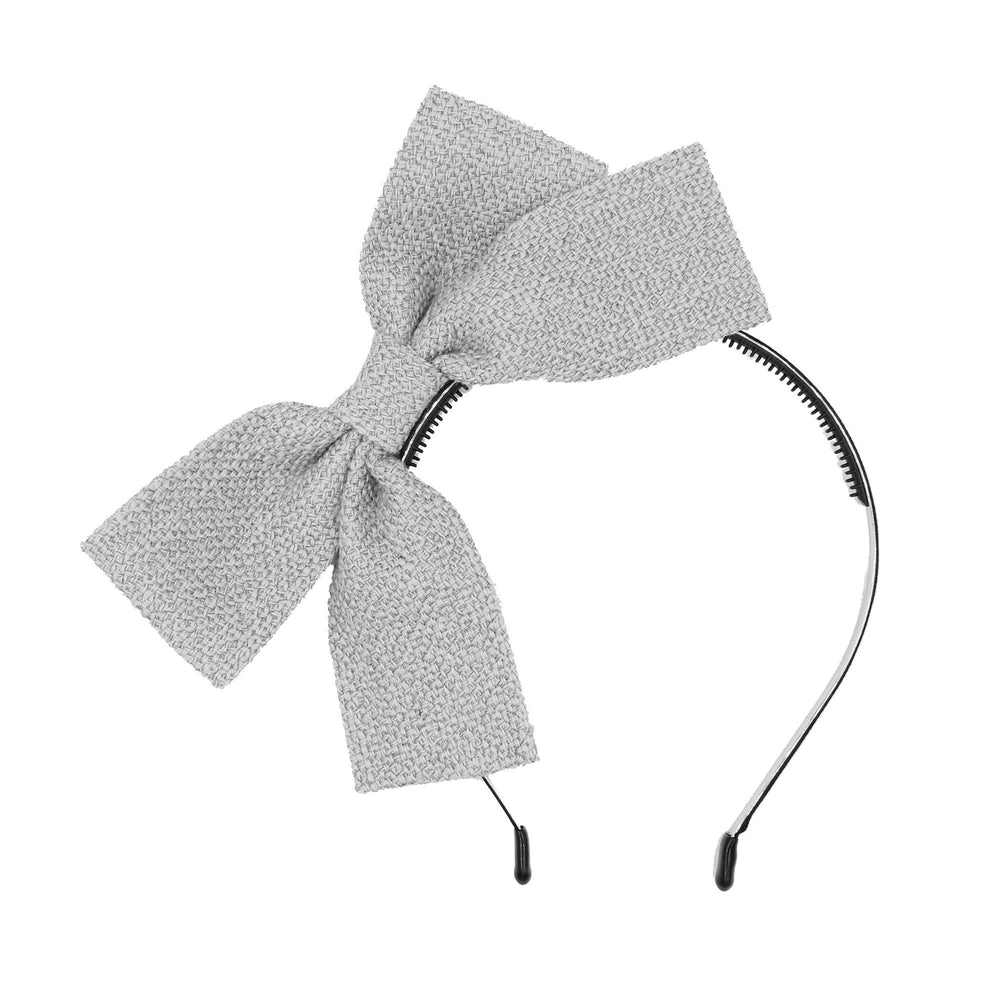 Burlap Bow Headband Headband Maniere Accessories Grey