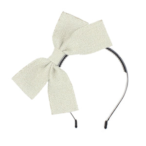 Load image into Gallery viewer, Burlap Bow Headband Headband Maniere Accessories Ivory