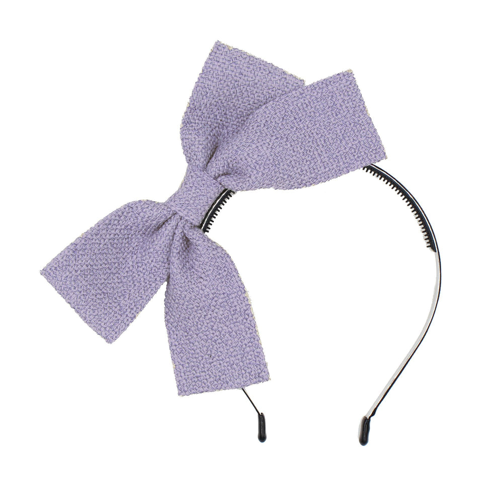 Load image into Gallery viewer, Burlap Bow Headband Headband Maniere Accessories Pale Purple