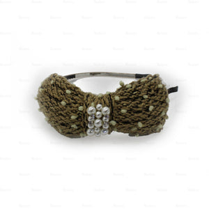 Load image into Gallery viewer, Crochet-Pearl-Bow-Headband Headband Manière Gold