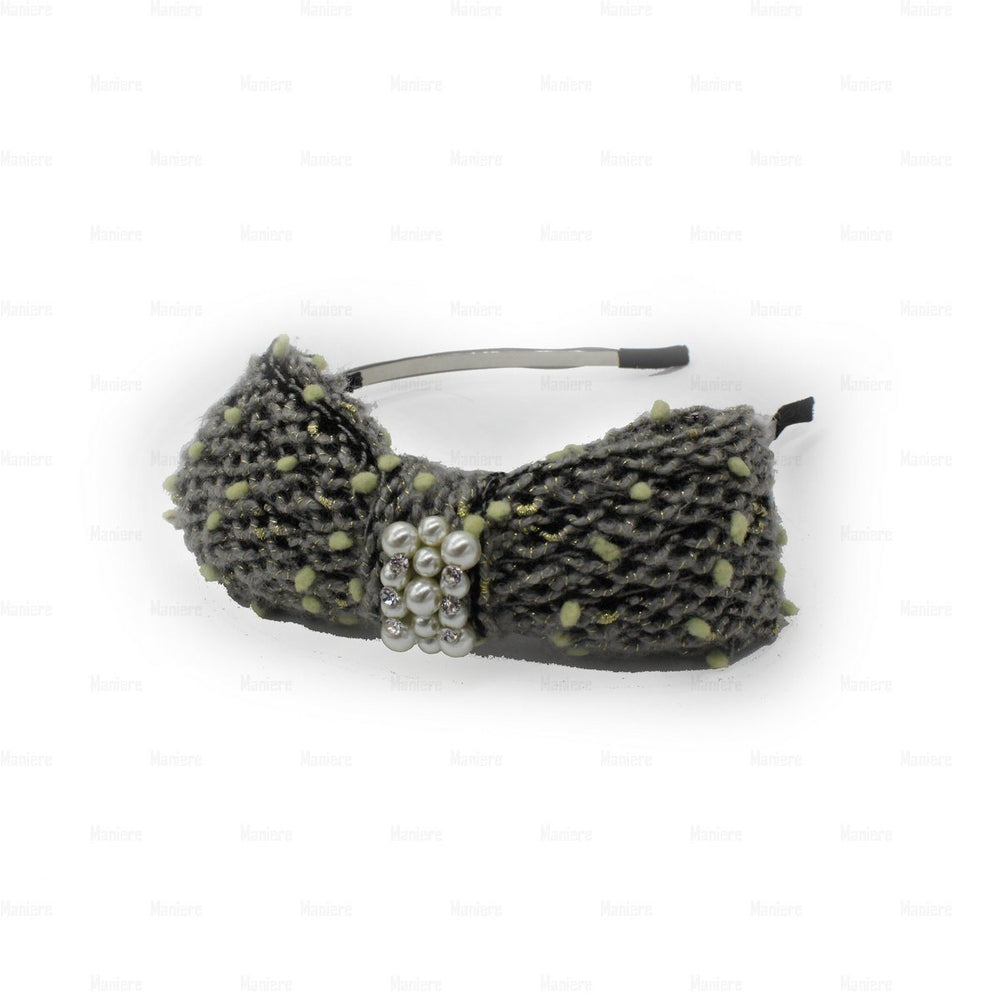Load image into Gallery viewer, Crochet-Pearl-Bow-Headband Headband Manière Grey