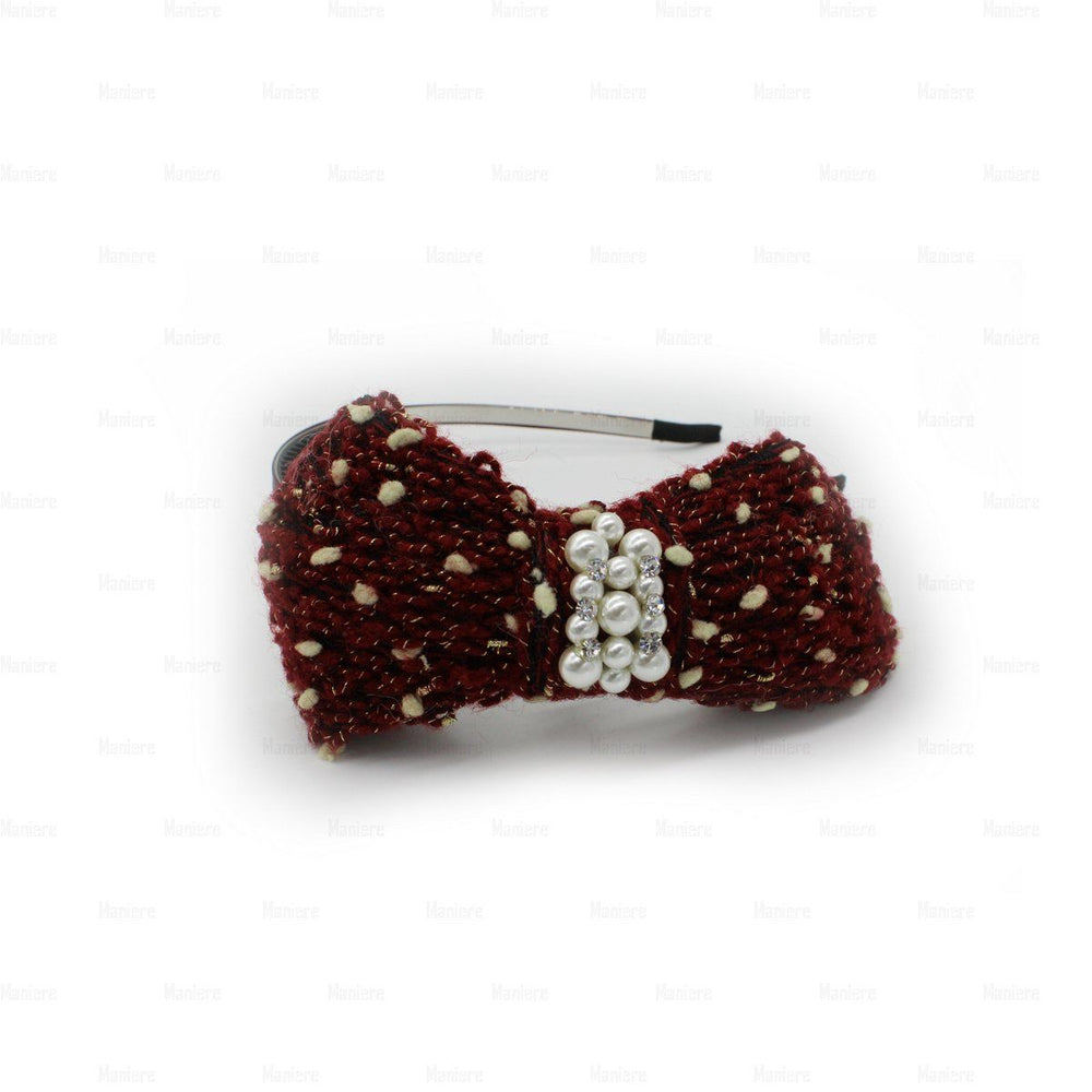Load image into Gallery viewer, Crochet-Pearl-Bow-Headband Headband Manière Maroon