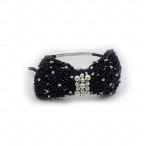 Load image into Gallery viewer, Crochet-Pearl-Bow-Headband Headband Manière Navy