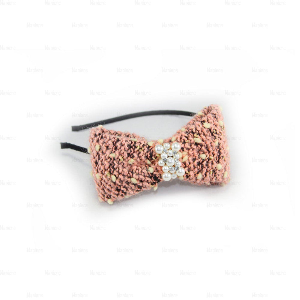 Load image into Gallery viewer, Crochet-Pearl-Bow-Headband Headband Manière Pink