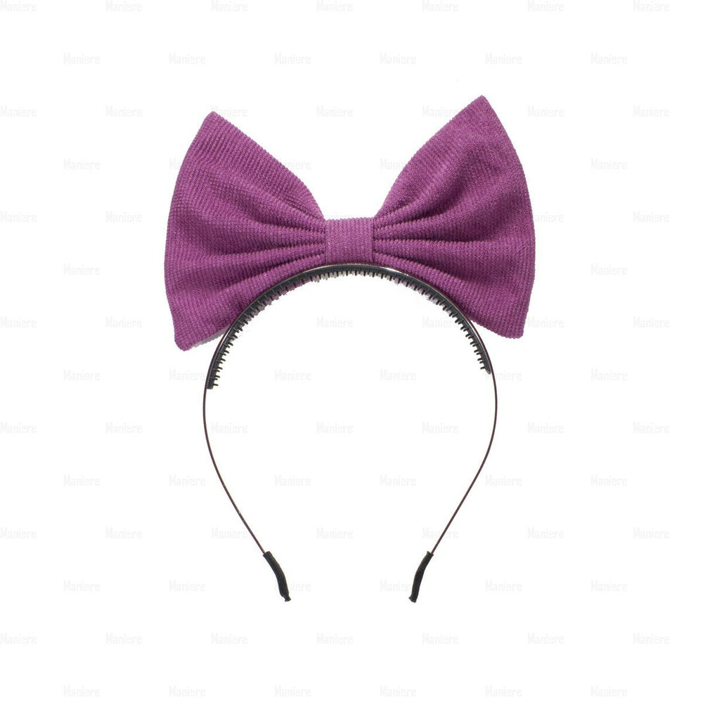 Corduroy-Pop-Up-Bow Headband Manière Plum