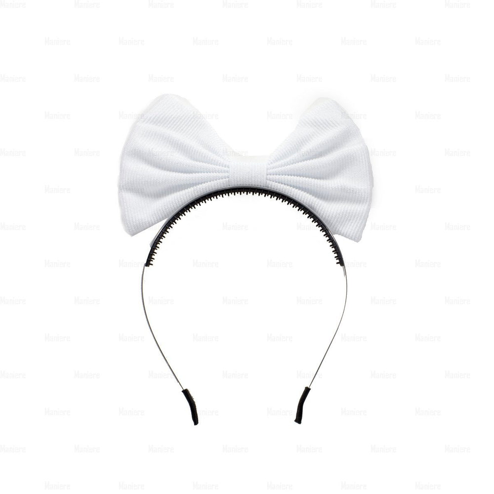 Corduroy-Pop-Up-Bow Headband Manière White
