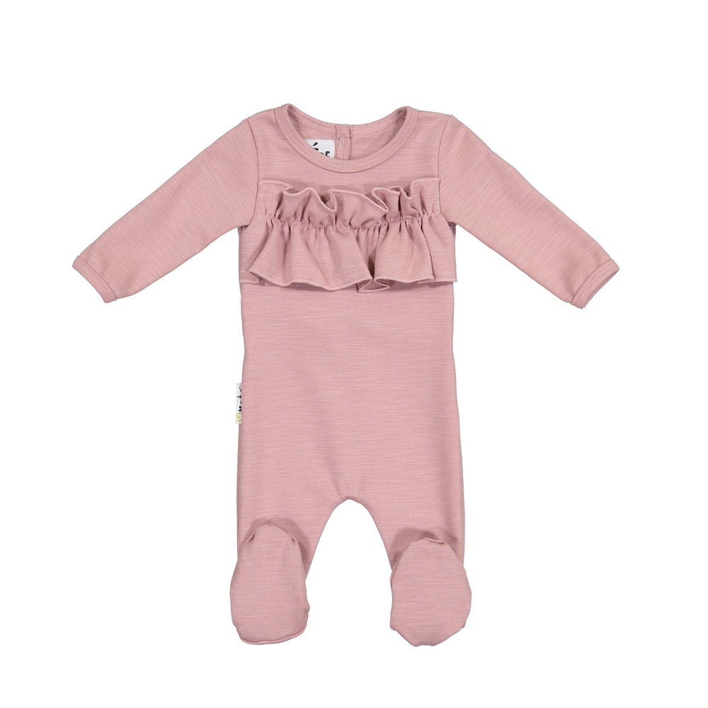 Chest Ruffle Footie Maniere Accessories Mauve 3 Month