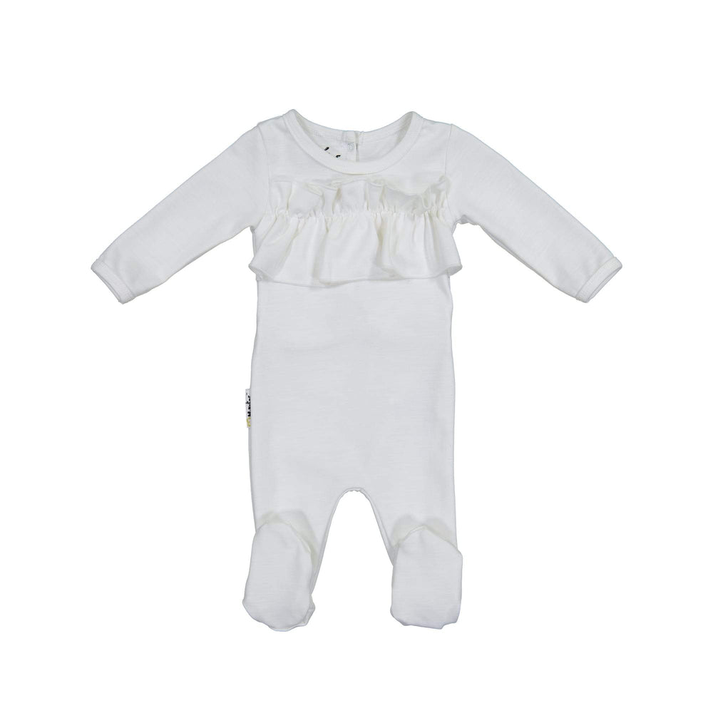 Chest Ruffle Footie Maniere Accessories White 3 Month