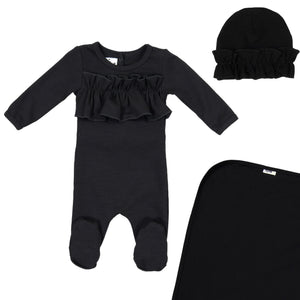 Load image into Gallery viewer, Chest Ruffle Footie Set Maniere Accessories Black 3 Month