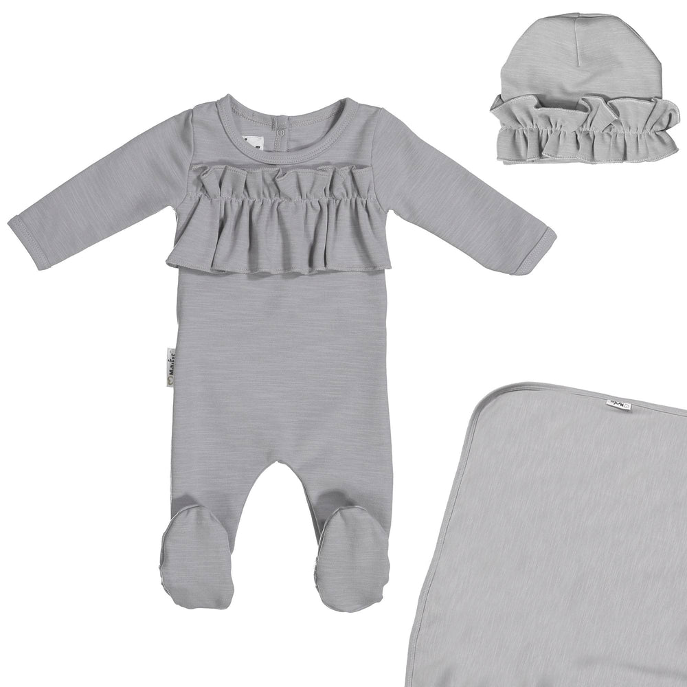Load image into Gallery viewer, Chest Ruffle Footie Set Maniere Accessories Grey 3 Month