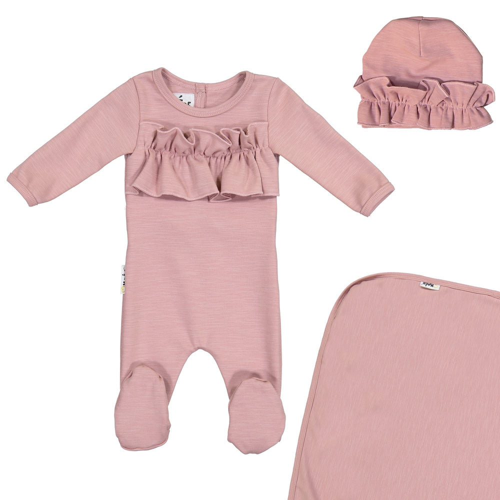 Chest Ruffle Footie Set Maniere Accessories Mauve 3 Month