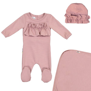Load image into Gallery viewer, Chest Ruffle Footie Set Maniere Accessories Mauve 3 Month