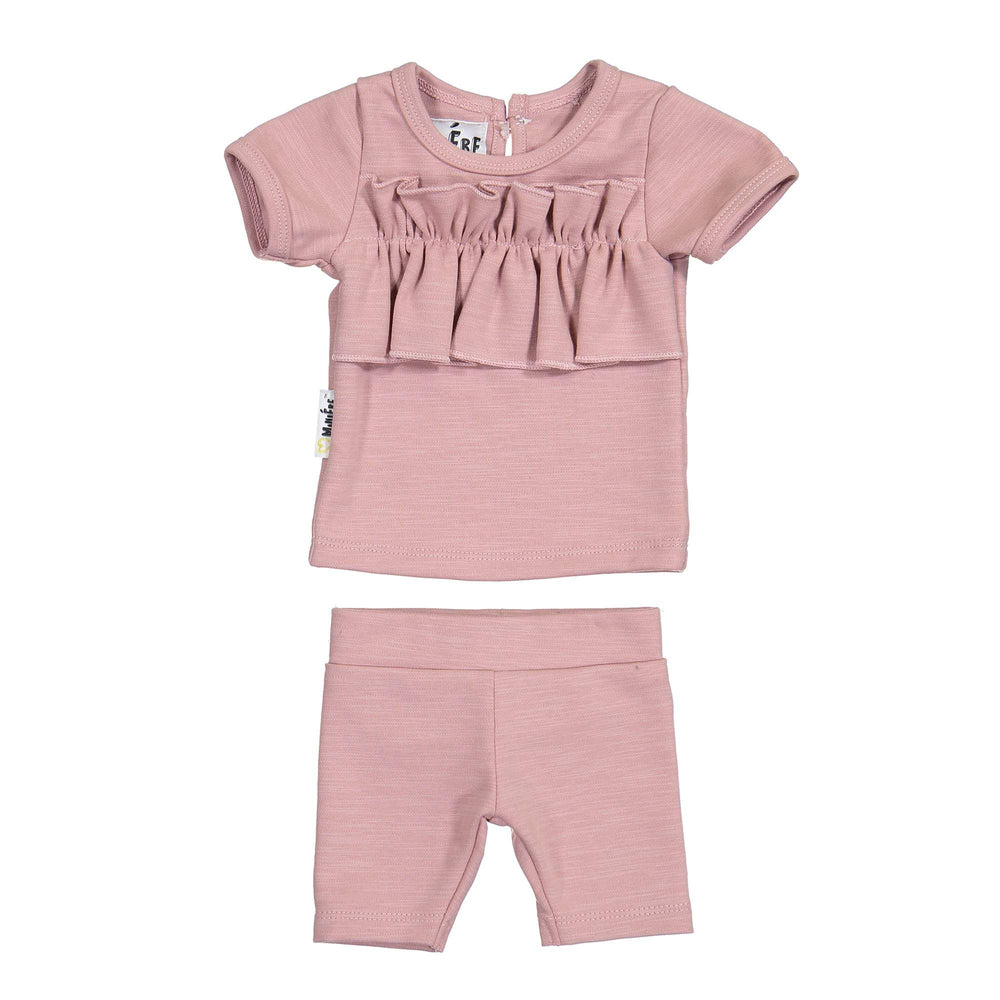 Chest Ruffle Two Piece Set Maniere Accessories Mauve 12 Month