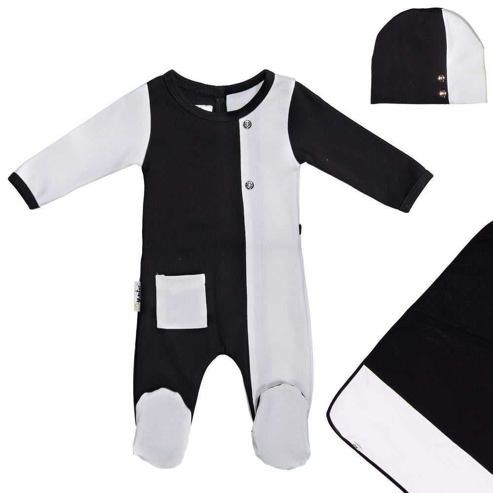 Load image into Gallery viewer, ColorBlock Footie Set Maniere Accessories Black 3 Month