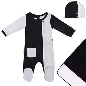 ColorBlock Footie Set Maniere Accessories Black 3 Month
