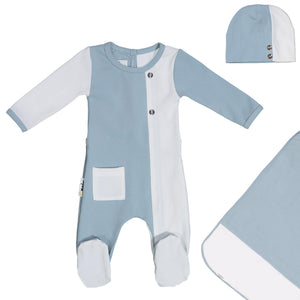 ColorBlock Footie Set Maniere Accessories Denim Blue 3 Month