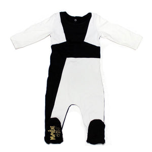 Color Block Footie Baby Footies Maniere Accessories 3M Black/White