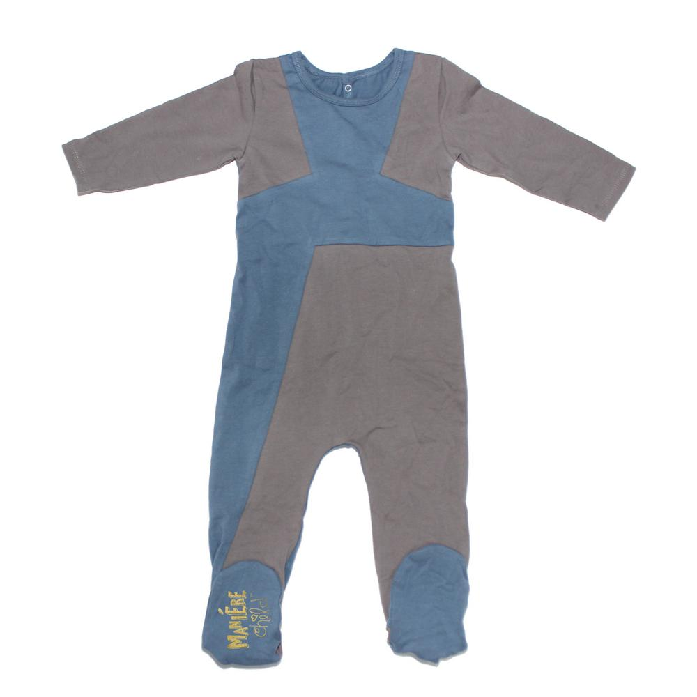 Color Block Footie Baby Footies Maniere Accessories 3M Blue/Grey