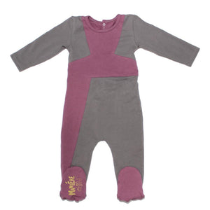 Color Block Footie Baby Footies Maniere Accessories 3M Dusty Pink/Grey