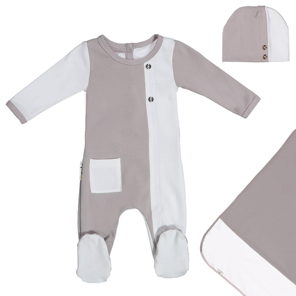 Load image into Gallery viewer, ColorBlock Footie Set Maniere Accessories Grey 3 Month