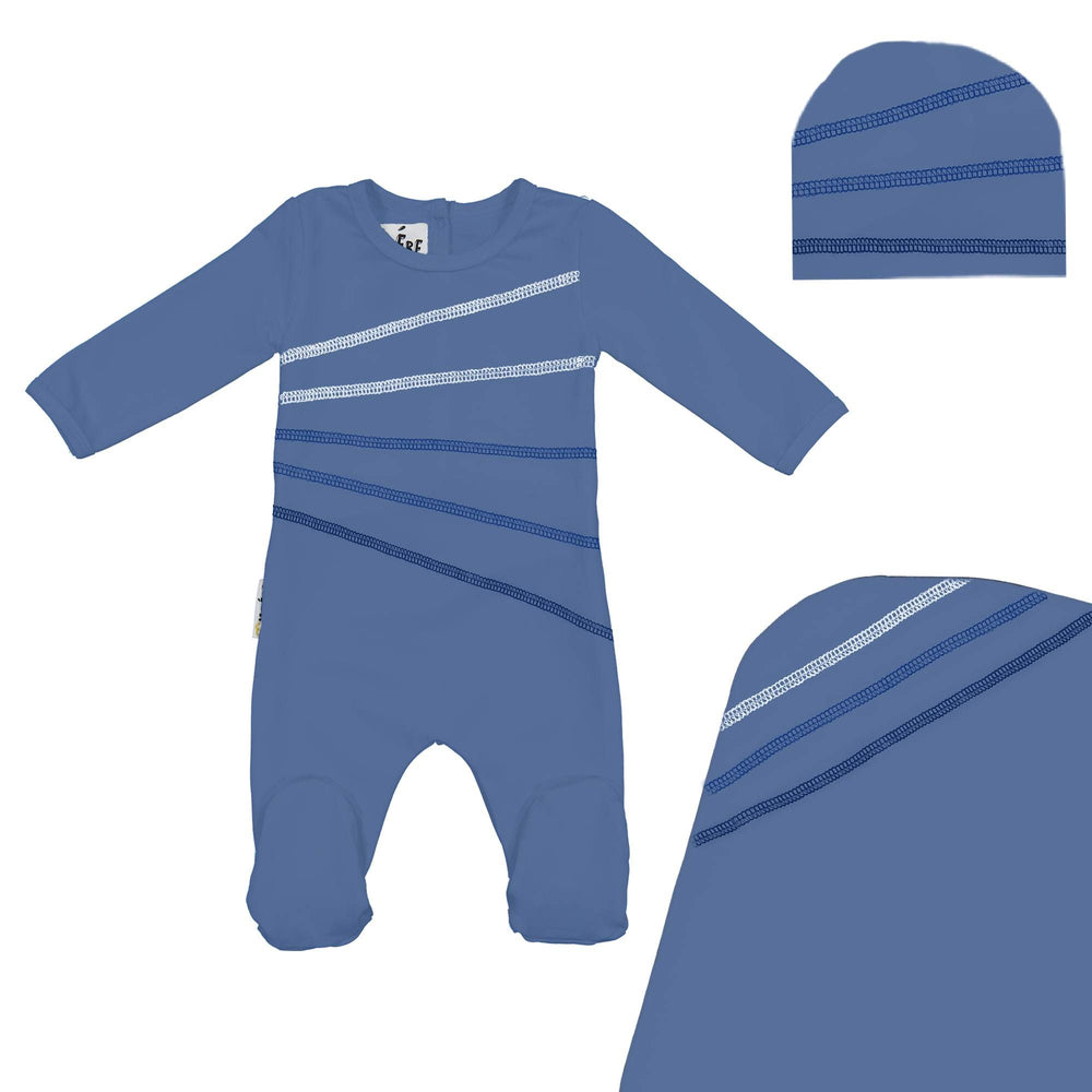 Load image into Gallery viewer, Colored Overlock Footie Set Maniere Accessories Denim Blue 3 Month