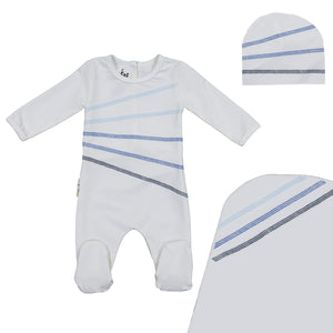 Load image into Gallery viewer, Colored Overlock Footie Set Maniere Accessories White 3 Month