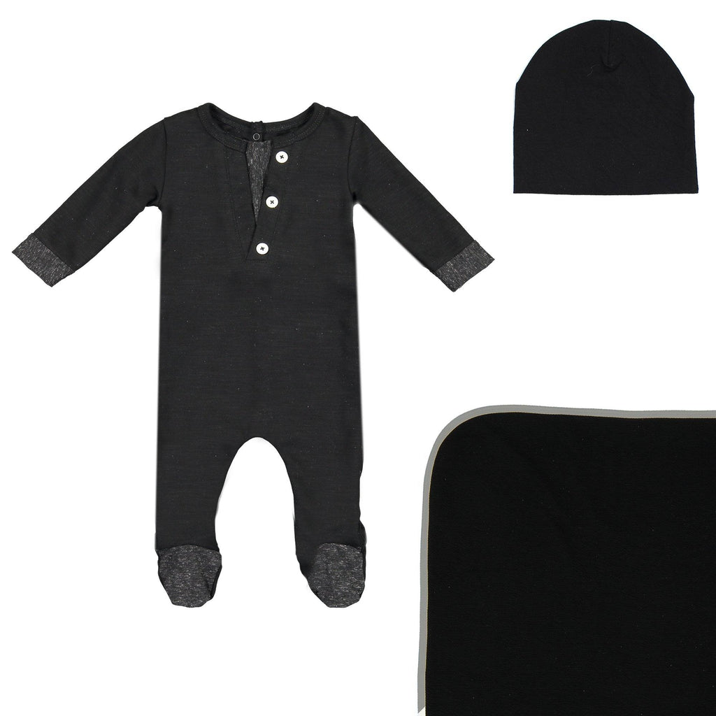 Cotton Henley Footie Set Maniere Accessories Black 3 Month