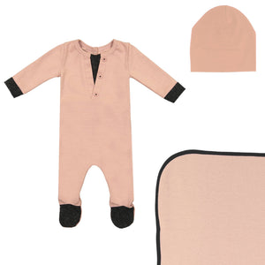 Cotton Henley Footie Set Maniere Accessories Mauve 3 Month