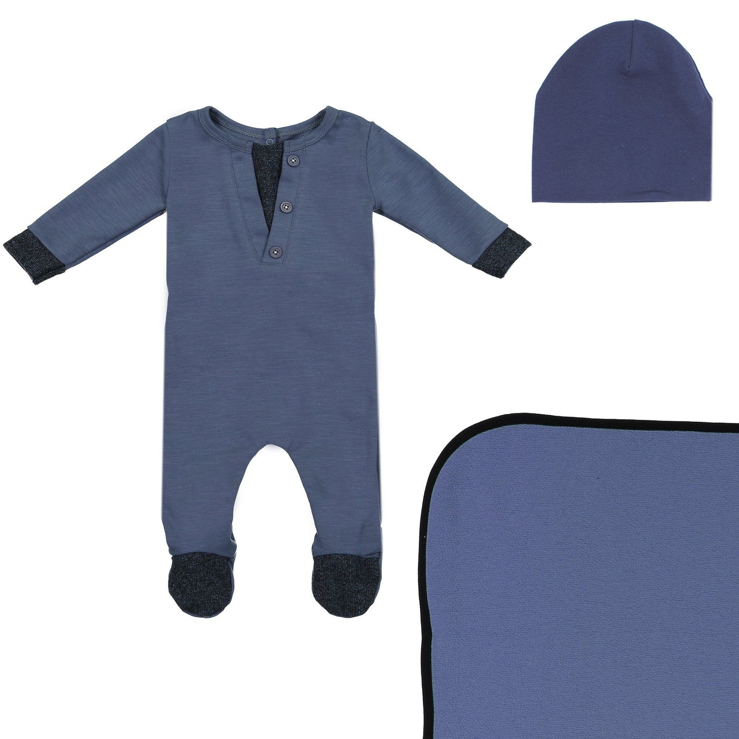 Cotton Henley Footie Set Maniere Accessories Navy 3 Month
