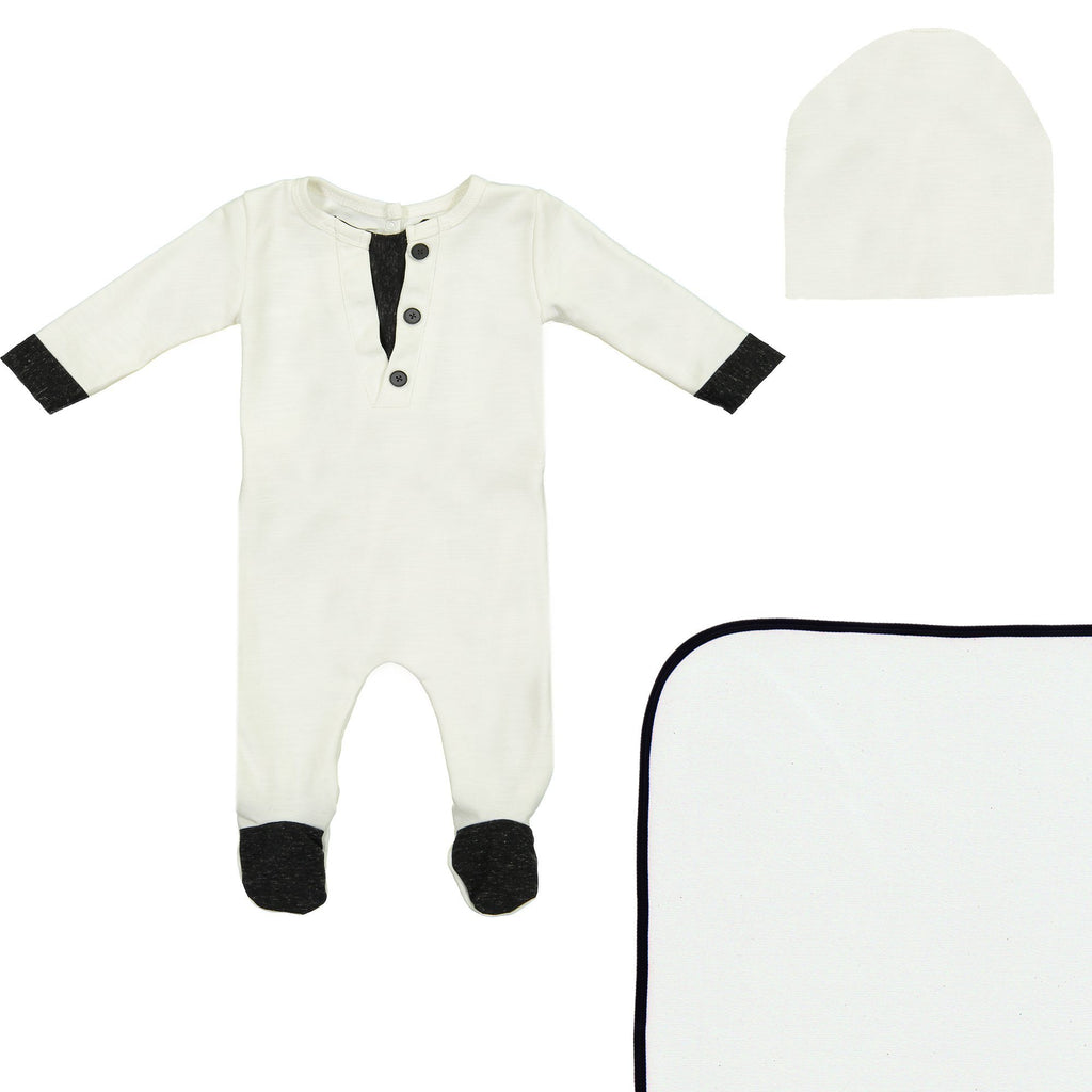 Cotton Henley Footie Set Maniere Accessories White 3 Month