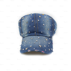 Load image into Gallery viewer, Denim-Baseball-Cap,-Large Baseball Cap Manière Stars