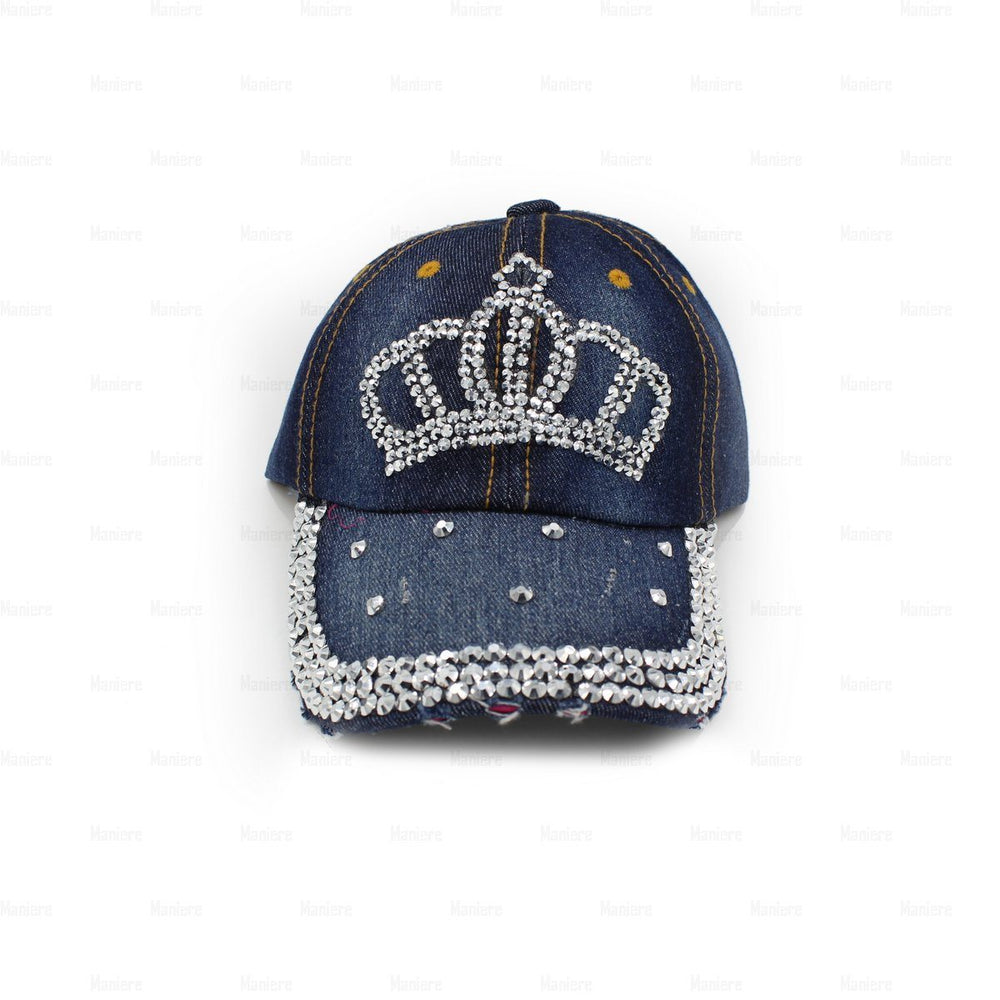 Denim-Baseball-Cap,-Small Baseball Cap Manière Crown