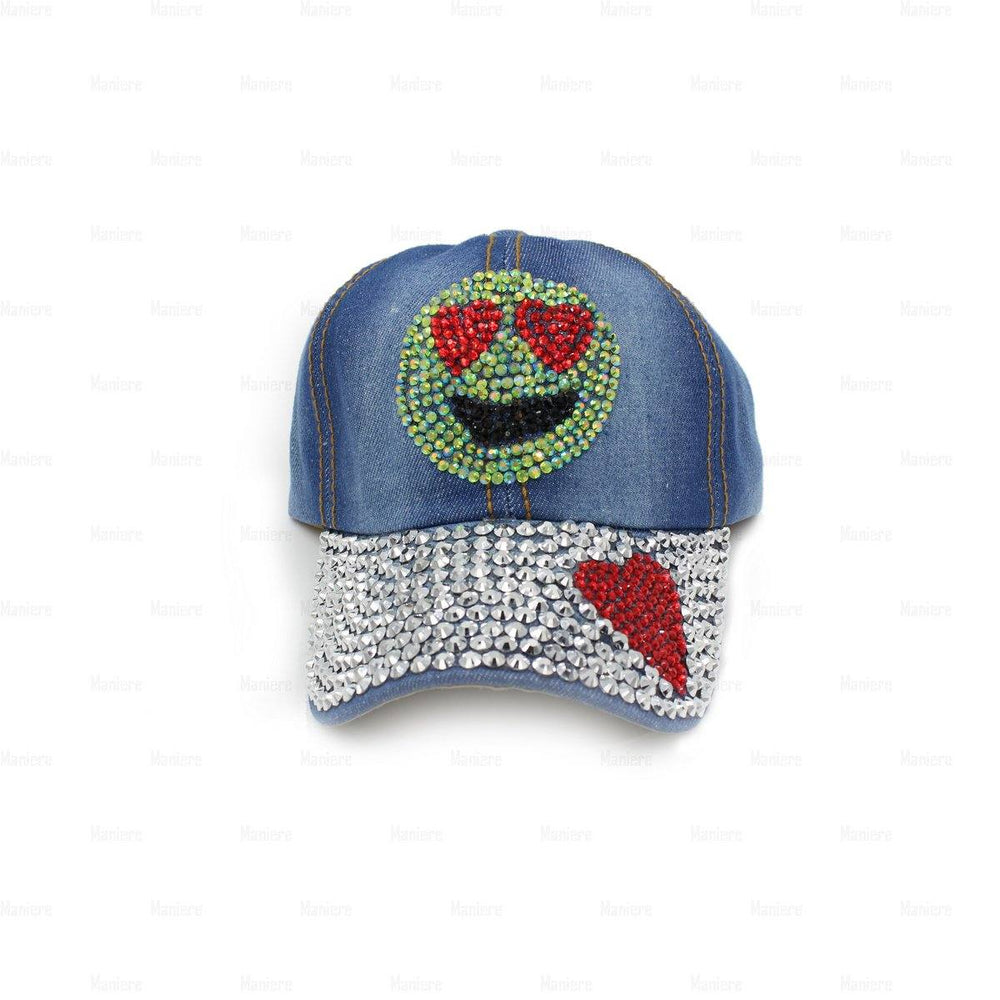 Load image into Gallery viewer, Denim-Baseball-Cap,-Large Baseball Cap Manière Emoji
