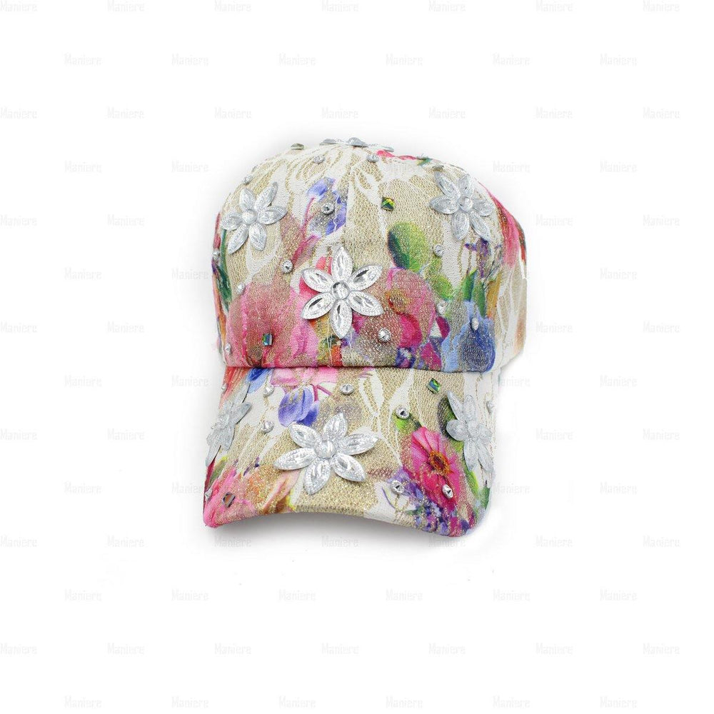 Denim-Baseball-Cap,-Large Baseball Cap Manière Flower Charms