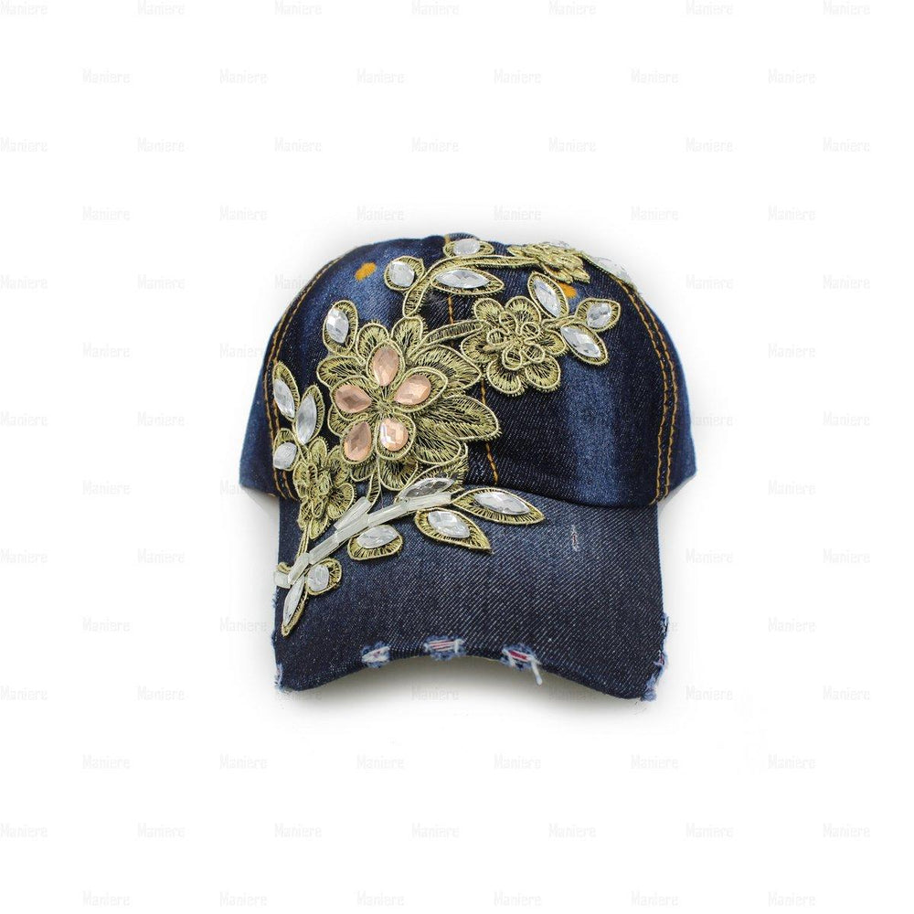 Load image into Gallery viewer, Denim-Baseball-Cap,-Large Baseball Cap Manière Floral