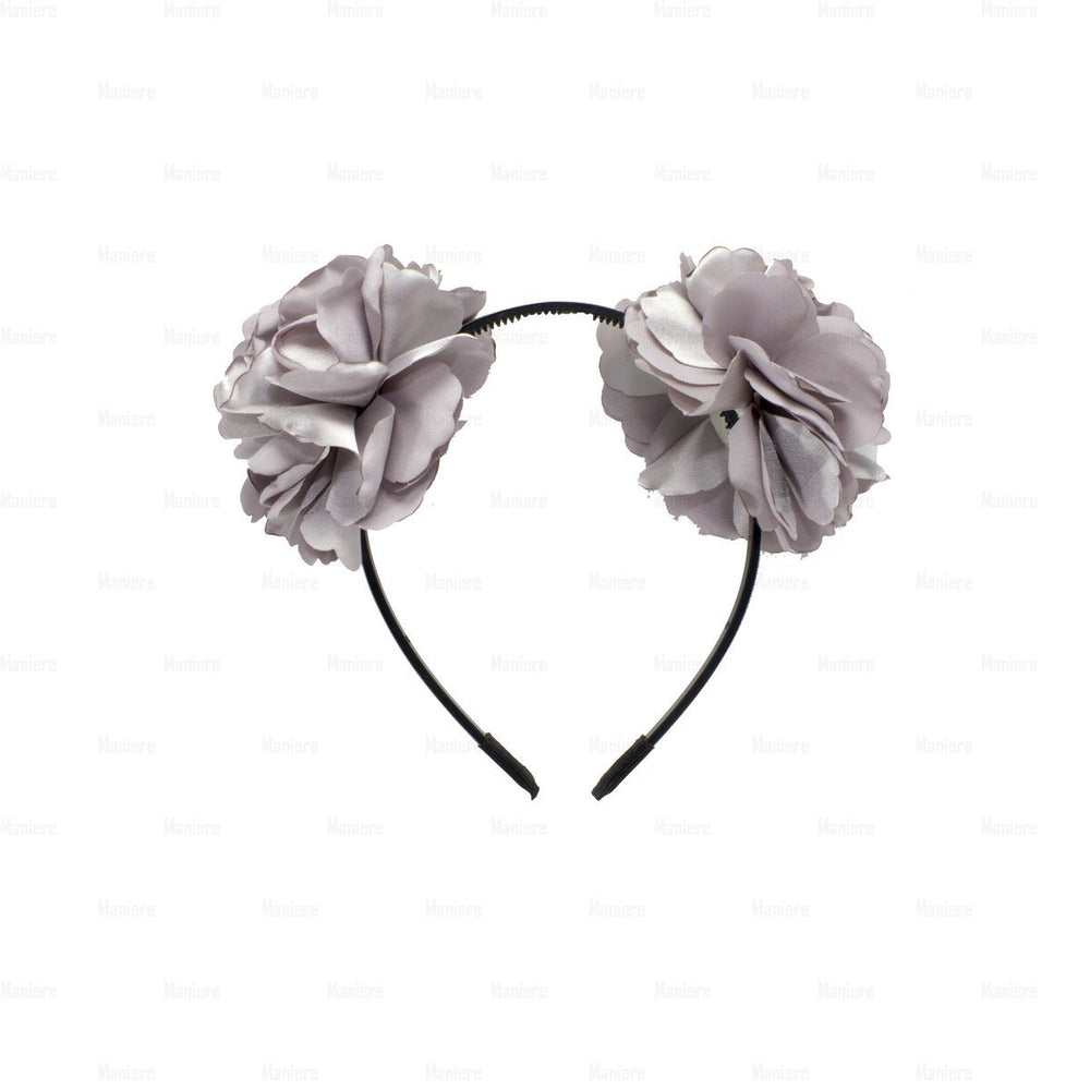 Double-Flower-Wreath Headband Manière Dusty Grey
