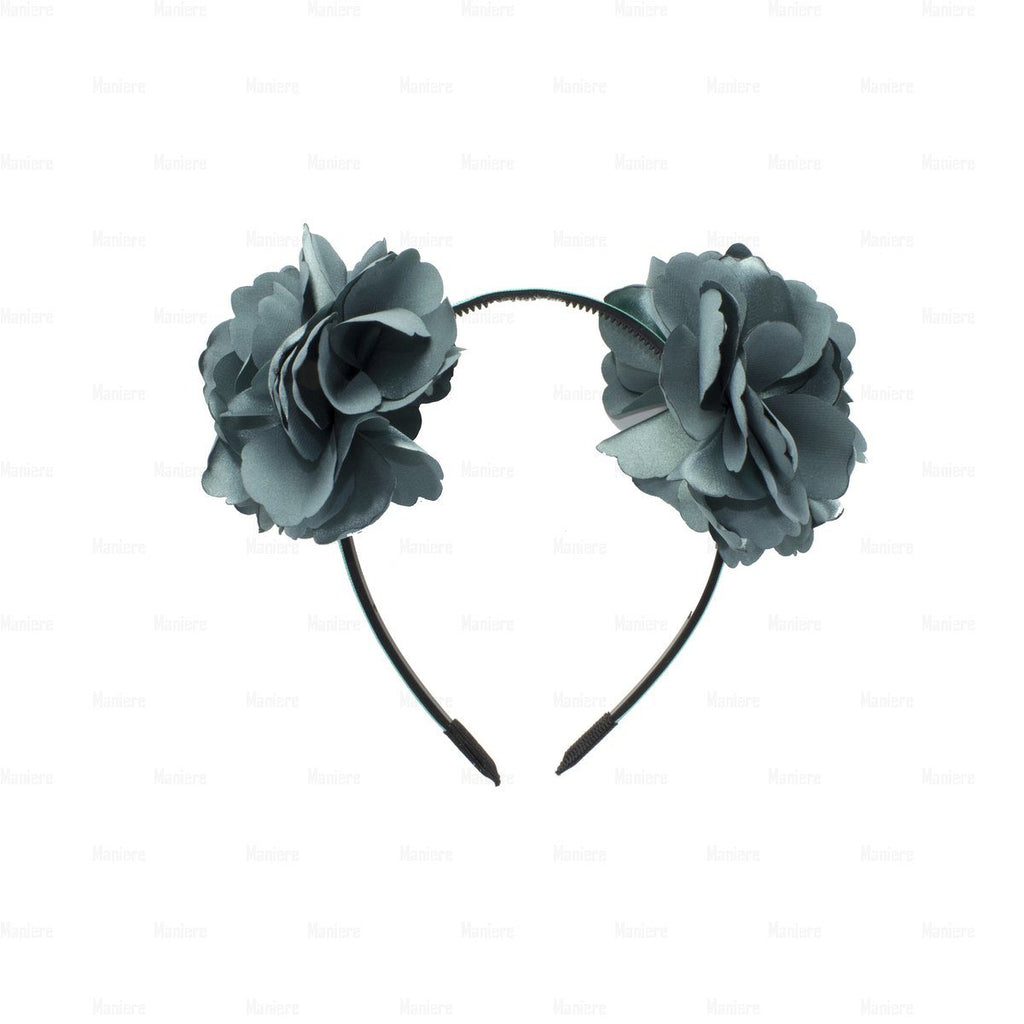 Double-Flower-Wreath Headband Manière Washed Teal