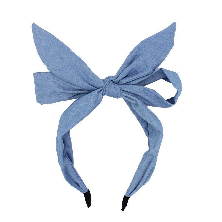Denim Monster Bow Headband
