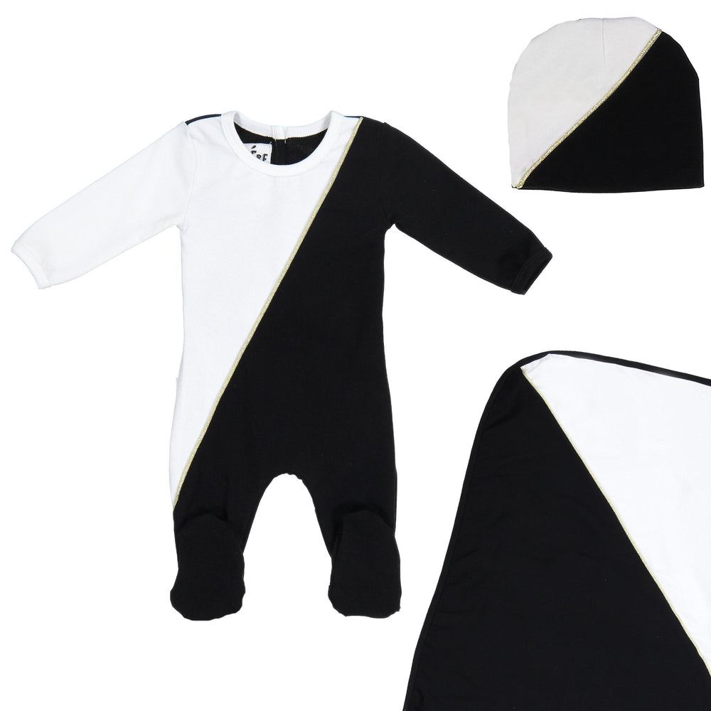 Load image into Gallery viewer, Diagonal Cording Footie Set Maniere Accessories Black 3 Month
