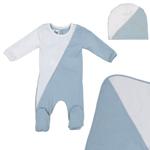 Load image into Gallery viewer, Diagonal Cording Footie Set Maniere Accessories Blue 3 Month