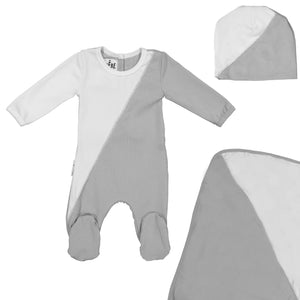 Load image into Gallery viewer, Diagonal Cording Footie Set Maniere Accessories Grey 3 Month