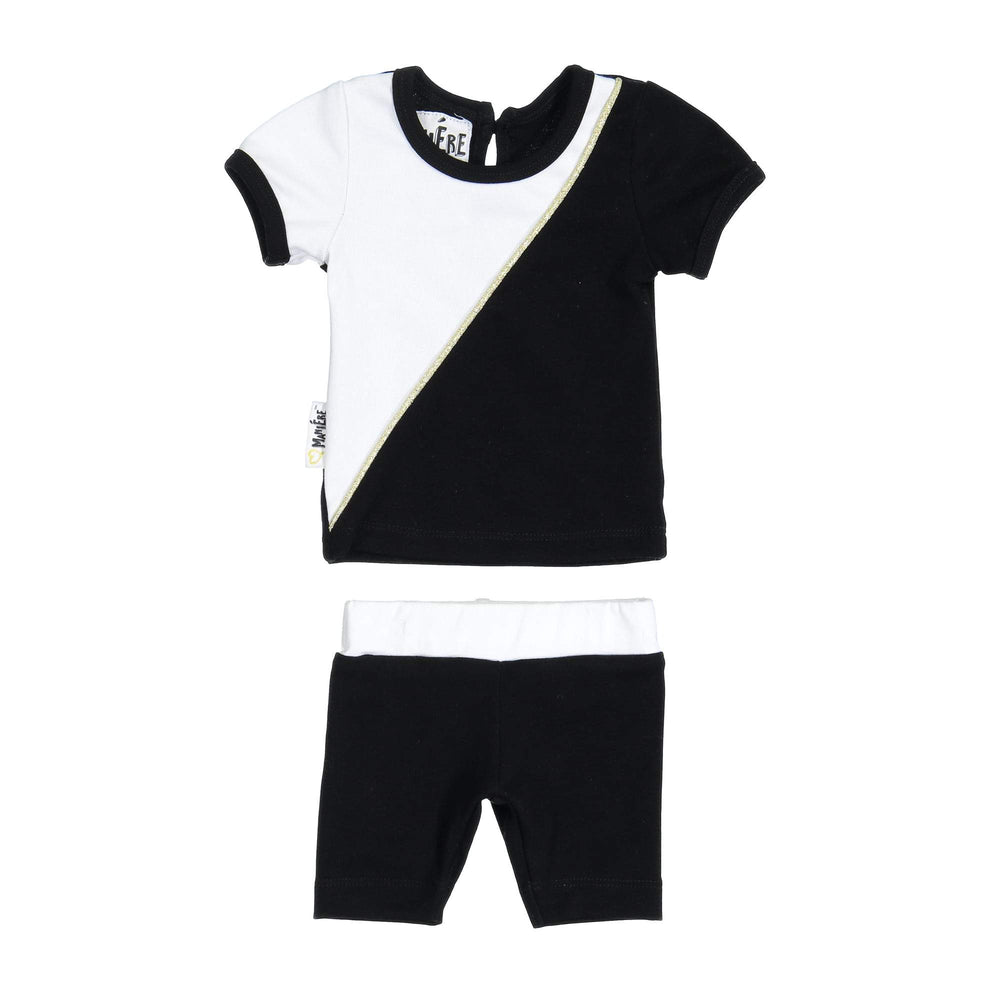 Diagonal Cording Two Piece Set Maniere Accessories Black 3 Month