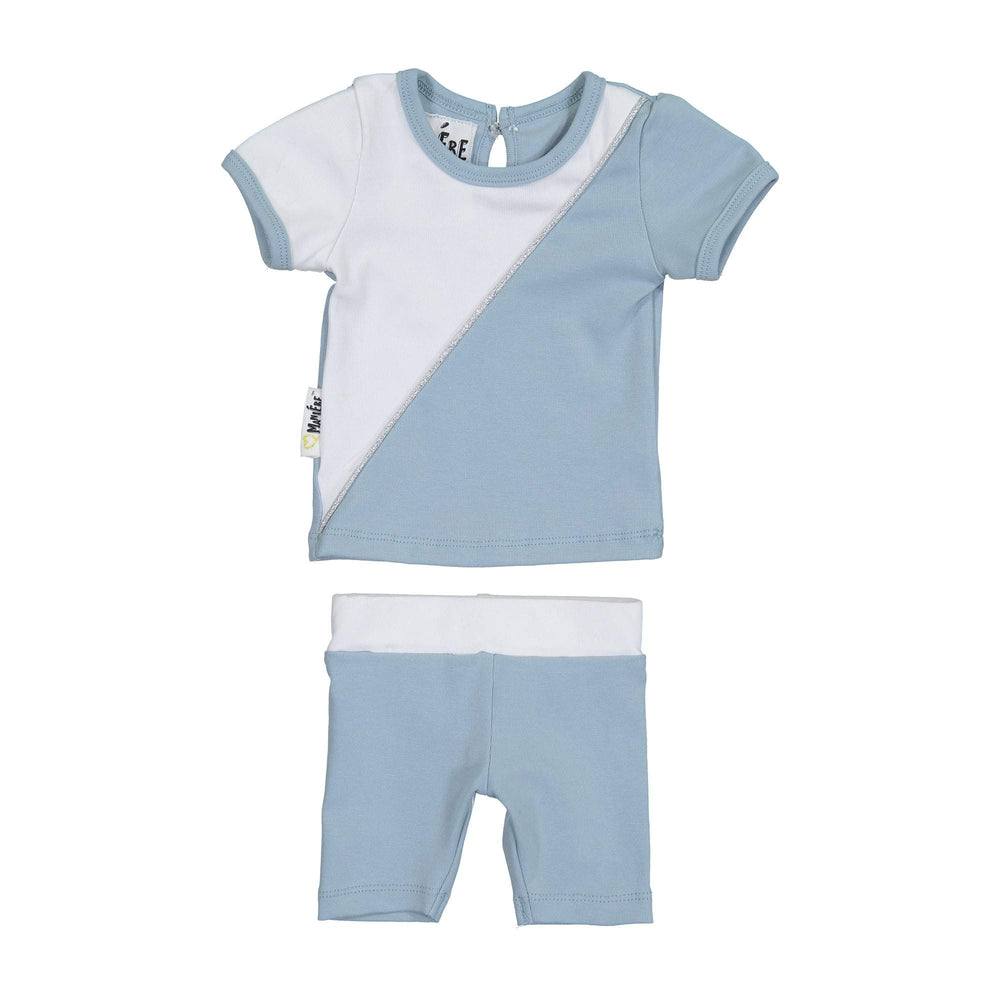 Diagonal Cording Two Piece Set Maniere Accessories Blue 12 Month