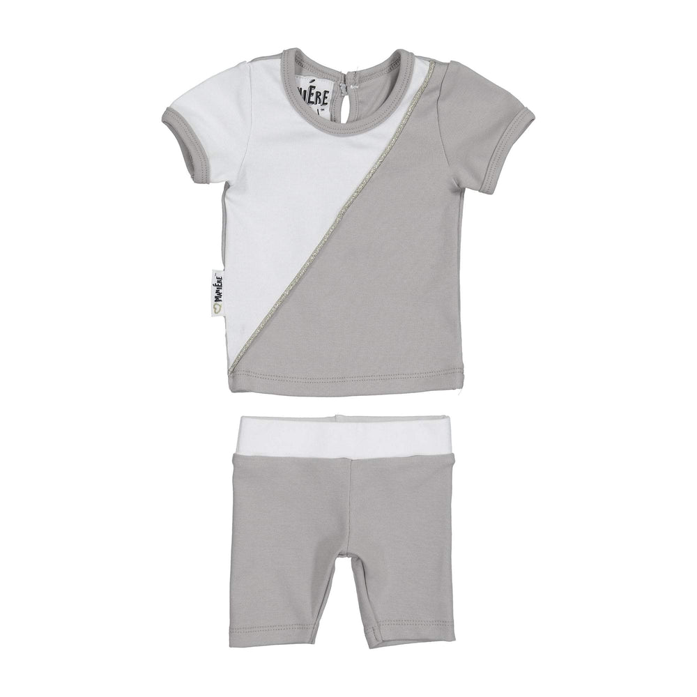 Diagonal Cording Two Piece Set Maniere Accessories Grey 12 Month