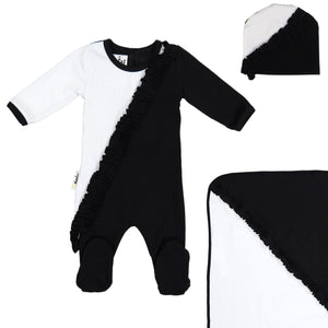 Diagonal Ruffle Footie Set Maniere Accessories Black 3 Month