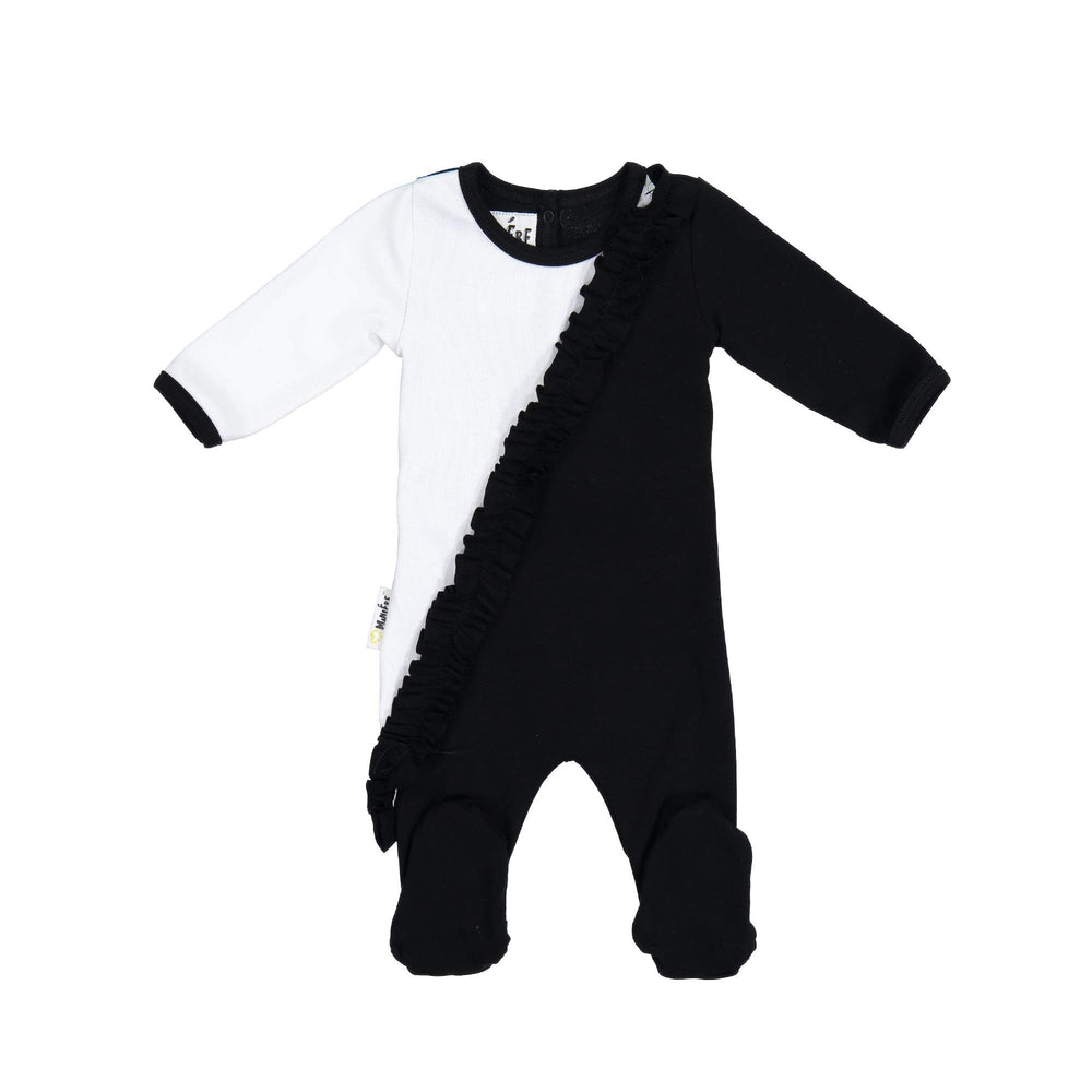 Load image into Gallery viewer, Diagonal Ruffle Footie Maniere Accessories Black 3 Month